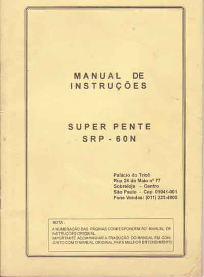 Manual Frontura (pente) Silver mod. SRP 60 N em Portugues (sem Imagens)